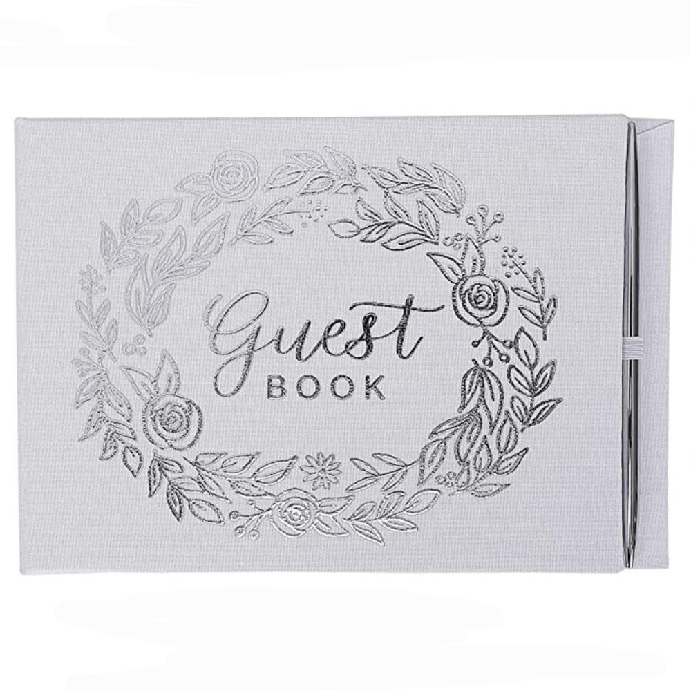 Silver Guestbook and Pen Set