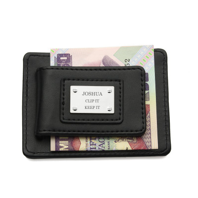 Personalized Real Leather Mens Money Clip Wallet for Men - Fathers Day Gift, Magnetic ID Clip and Bank Card Slots
